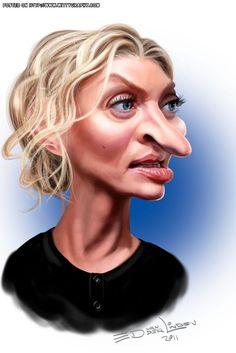 Uma Thurman  caricature by Ed Van Der Linden