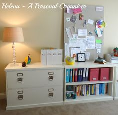Plan for plenty of storage when organizing your home office. Find more office organization ideas here.