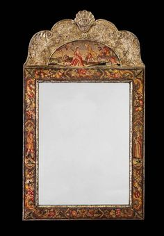 A tapestry and silvered pier mirror of small proportions, the top section with delicately silvered decoration surmounted with a shell, the centre and lower sections of finely worked tapestry, Queen Anne style but circa 1890.