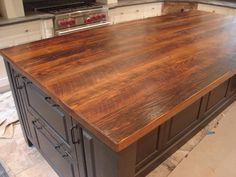 I must have this fabulous wood plank countertop - stunning!  (Credit: Scott Cassin's Custom Countertops)