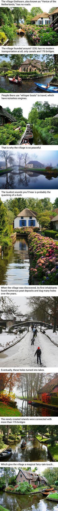 Kylä Hollannissa jossa ei ole lainkaan teitä-