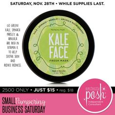 Red, irritated skin? Go green! Made with kale, spinach, parsley, and arugula, our Kale Face mask is rich in vitamin K which helps soothe skin and reduce redness and irritation. Just apply this cool, green gel and allow it to work its magic. Then rinse away and reveal calm, smooth skin. Sometimes it's easy being green.