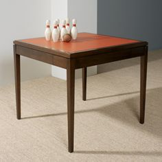 Games Table | Maxine Snider Inc. interior design, game room, living room, bedroom, den, office, library, study, handmade furniture, custom games table, leather top, traditional, transitional design, modern, contemporary, high-end, luxury, midcentury modern, drawers, card table, walnut, classic