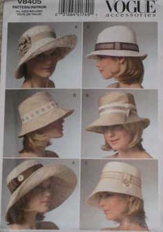 Bucket Fedora and Floppy Hat Vogue 8405 sewing pattern by PeoplePackages