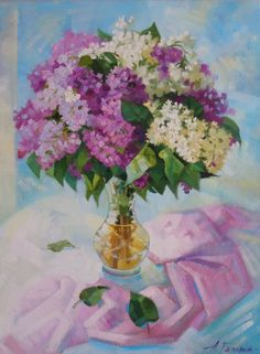 """Original oil painting """"A bouquet of lilacs"""" Still life, painted from life. Oil on canvas, in a single copy. 2012 year. Excellent for interior living room, bedroom, dining room. Size: 39.4""""x29.5"""" (100x75 cm)  $ 330,00"""