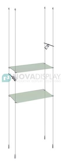 Cable/Rod Suspended Glass Shelving Kits – ideal for displaying collectibles, merchandise and promotional products in windows, inside glass cabinets, or interiors. Posters, signage and lighting can be also integrated into these displays.