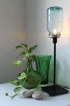 True Blue  Mason Jar Lamp  Upcycled Antique Mason Jar by BootsNGus, $45.00