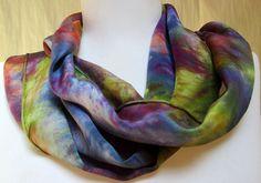 Hand painted silk scarf accessory wrap designer by Silkworth