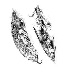 Indian tattoo designs, I want this as a half sleeve feather on the outside spear on the inside. Wolf Tattoos, Kinderinitialen Tattoos, Arrow Tattoos, Trendy Tattoos, Tattoo Drawings, Body Art Tattoos, Tattoo Ink, Inca Tattoo, Pencil Drawings