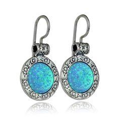 "925 Sterling Silver Created Blue Fire Opal Earrings with Ornate Floral Design & Secure Backs. Impressive Ornate Round Opal Earrings Made by Hand in Jewelry Design Studio. Large 12 mm Created Blue Fire Opal - The Earrings Measure Just Under 15/16"" in Length (including the bail) and 5/8"" without the bail. Vintage look Unique Artisan Design. Lavish Floral Design Drop Earrings with Wire & Hook Secure Backs. Luxurious Everyday or Special Occasion Earring."