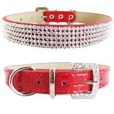 Collar Cuero de Cocodrilo Rojo con Diamantes Para Perro Tamaño Pequeño  #Generic