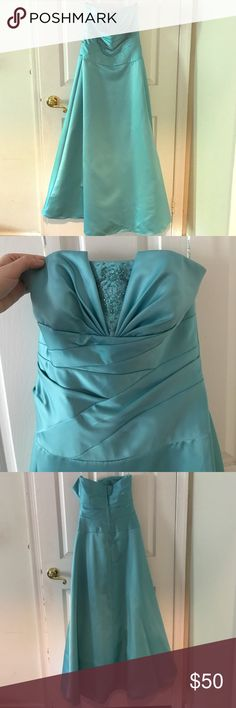Teal gown with beading at bust Beautiful teal strapless gown with pretty beading at bust David's Bridal Dresses Prom