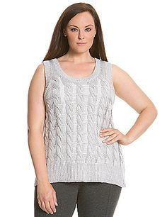 b15cc583269 Open-work cable knit makes 6th  amp  Lane s sweater tank a luxe layering  piece