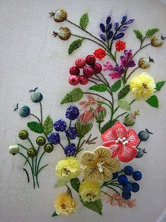 *EMBROIDRY ~ by Kwok Wing Sum: who works in clinic + after office hours, she spends all her free time making beautiful embroidered pieces. She enjoys designing her pictures - flowers, golden birds, ribbon flowers....