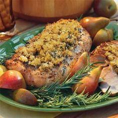 Grilled Pork Loin With Rosemary-Breadcrumb Crust Recipe   MyRecipes.com
