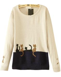 Shop White Long Sleeve Cats Print Knit Sweater online. Sheinside offers White Long Sleeve Cats Print Knit Sweater & more to fit your fashionable needs. Free Shipping Worldwide!