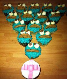 Pedido de cupcakes del monstruo de las galletas para un cumpleaños