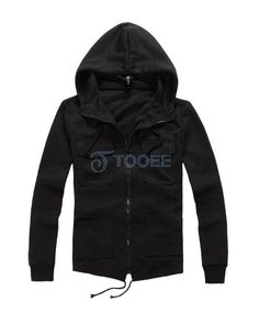 Personality Pockets Design Full Zip Blue Casual Hoodie