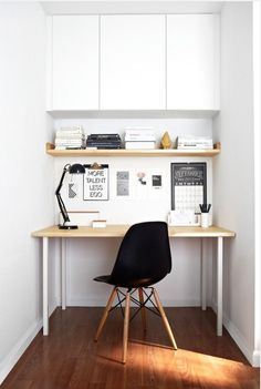 [could we mount closed paper storage above the workspace?] ♥ Compact. small desk…