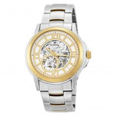 Bulova 98A111 Gold and Silver Tone Automatic Skeleton Watch For Men