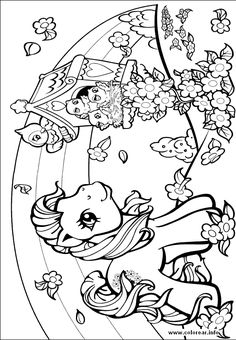 Girly coloring pages: My Little Pony, Barbie, mermaid...