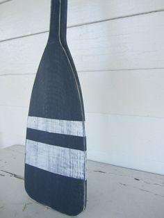 Navy Blue Distressed Paddle with White Stripes