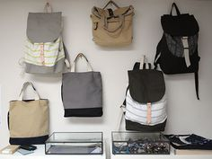 So-good bags on display at the Skinny Vinny South Brooklyn studio.