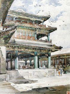 Huayi Yu -  China's top woman professor of architecture watercolor