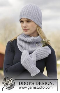 """Ruth / DROPS 166-13 - Set consists of: Knitted DROPS hat, neck warmer and mittens with textured pattern in """"Lima"""". - Free pattern by DROPS Design"""