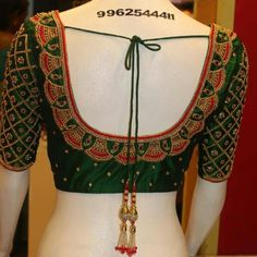 A dark green color embroidery design with stone finishing work Designer Boutique Dresses In Chennai. Bridal Blouses In Vadapalani. New Saree Blouse Designs, Cutwork Blouse Designs, Blouse Designs Catalogue, Simple Blouse Designs, Stylish Blouse Design, Bridal Blouse Designs, Hand Work Blouse Design, Designer Blouse Patterns, Boutique Dresses