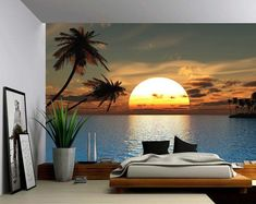Palm Beach Summer Tropical Tree - Large Wall Mural, Self-adh.- Palm Beach Summer Tropical Tree – Large Wall Mural, Self-adhesive Vinyl Wallpaper, Peel & Stick fabric wall decal Palm Beach Summer Tropical Tree Large Wall Mural -