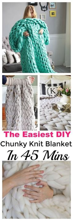 Make your own chunky knit blanket in less than one hour, even as a beginner! More than one method is outlined for those who want a video tutorial or those who prefer a written pattern. #chunkyknitblanket #diychunkyknitblanket #blanketknittingpattern #diy