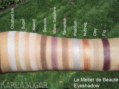 Karlasugar's insanely comprehensive le metier de beaute eyeshadow swatches, etc.