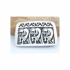 Kokopelli Belt Buckle Sterling Silver Hopi Native American Handmade by Joe Josytewa