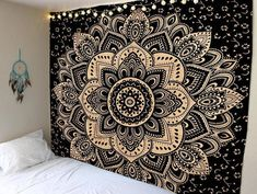 Indian Lotus black Ombre Mandala Tapestry Wall Hanging Sofa Cover Bohemian Hippie Tapestry Wall Decor Queen Tapestry Dorm Room Tapestry