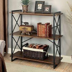 Furniture of America Collins Industrial Medium Weathered Oak 3-tier Display Shelf (Medium Weathered Oak), Brown