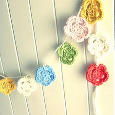 Crochet Flower Garland - pastels, nursery decor, girl, bunting on Etsy, $27.52