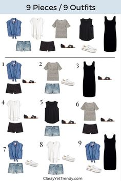 Pieces / 9 Outfits Minimalist Capsule Wardrobe 9 pieces 9 outfits - sub in navy instead of black for me.Minimalist Capsule Wardrobe 9 pieces 9 outfits - sub in navy instead of black for me. Summer Minimalist, Minimalist Packing, Minimalist Outfits, Minimalist Fashion French, French Minimalist Wardrobe, Minimalist Closet, Looks Teen, Look Fashion, Womens Fashion