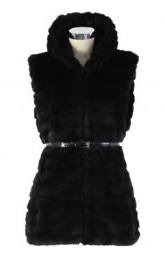 Chicwish Faux Fur Hooded Quilt Vest in Black - Retro, Indie and Unique Fashion