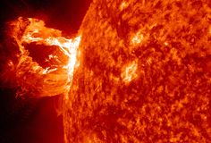 A beautiful prominence eruption shot off the east limb (left side) of the sun on Monday, April 16, 2012. Such eruptions are often associated with solar flares, and in this case an M1 class (medium-sized) flare did occur at the same time, though it was not aimed toward Earth. This event, which is still in progress, was seen by NASA's SDO satellite.