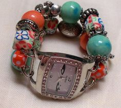 Chunky Orange and Green Beaded Interchangeable Watch by BeadsnTime, $25.00