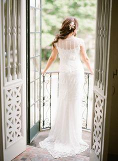 Romantic #ClairePettibone Bride - See her beautiful wedding on http://www.StyleMePretty.com/2013/09/03/sarasota-wedding-from-justin-demutiis/   Justin DeMutiis Photography