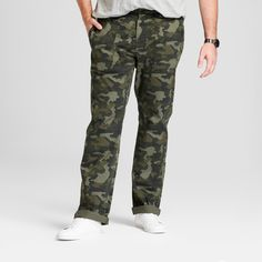 Men's Big & Tall Utility Cargo Pants - Goodfellow & Co Camo 46X36, Green