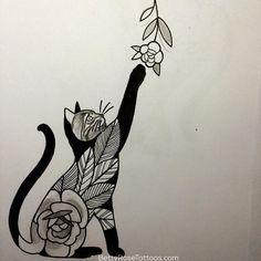 Rose cat tattoo design by Betty Rose #BettyRose #cat #kitten #rose #flower (Photo: Instagram)