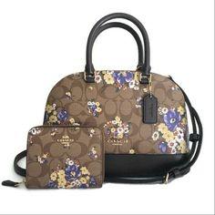 3ae853e641 Coach F31968 Mini Sierra Satchel Bag Signature Medley Bouquet Khaki Multi  for sale online
