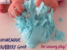 Homamde rubbery goop recipe for sensory play opportunities - so simple to make - no toxic and safe for kids!