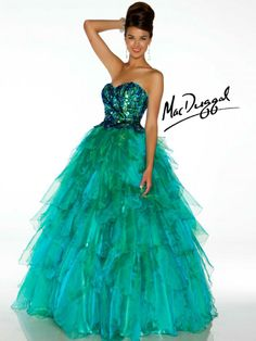 Peacock Ball Gown With Layered Skirt - Mac Duggal   Brilliant layered full tulle ballgown with slight sweetheart neckline will make you the center of attention.  Iridescent sequins play off the tone on tone skirt. Perfect dress for  Quinceanera.
