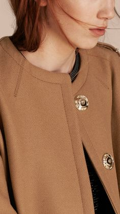 Technical Wool Cashmere Blend Collarless Coat Camel   Burberry