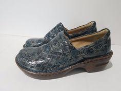 BOC Born Clogs Blue Faux Vegan Snakeskin Reptile Slip On Womens Size US 10 EU 41 #Brn #Clogs #WeartoWork