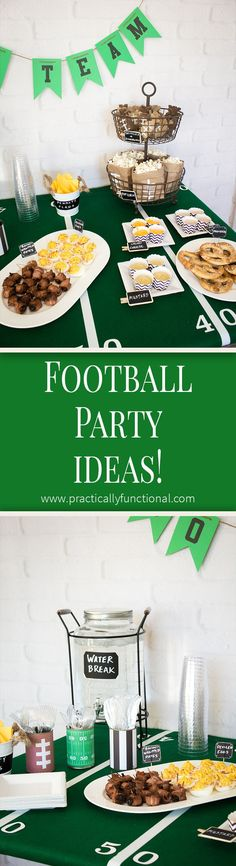 Food and football themed decorations for any super bowl party or football themed birthday party! Food and football themed decorations for any super bowl party or football themed birthday party! Football Party Decorations, Football Party Foods, Food Decorations, Football Parties, Football Food, Football Fever, Football Tailgate, Tailgate Food, Football Season